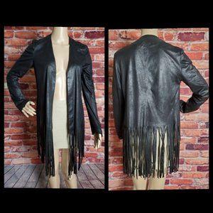SW3 Bespoke Black Fringed Jacket Size Small  EUC